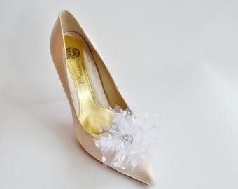 White Tulle With Dots Flowers Shoe Clips Set of two