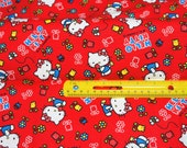 Hello Kitty Fabric Gardening Theme Half meter 50 cm by 106 cm or 19.6 by 42 inches