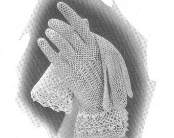 Vintage 1930s Crochet Gloves with Irish Cuffs Pattern Art Deco Wedding Bride Bridal PDF 3505