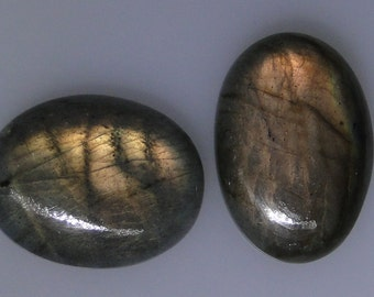 2 Labradorite oval cabochons, gold copper color flash, 55.44 carats total                  043-10-410