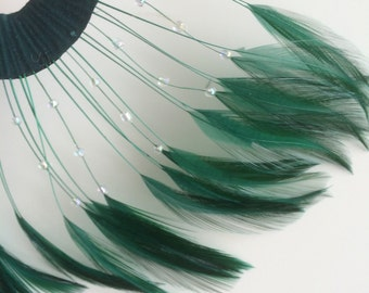 HALF PINWHEEL Beaded Feathers /  Hunter Green  /  1208