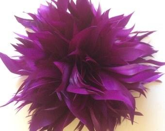 FLEUR de PLUME,  Vogue Goose feather fascinator, Magenta Purple  / FDP - 28