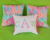 New MONOGRAM pillow made with Lilly Pulitzer 2014 Lets Cha Cha