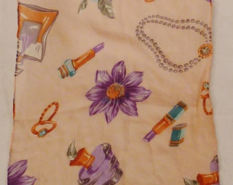 Vintage SILK SCARF jewels toilet items flowers Long  organza 58 x 11 Pink colors great condition