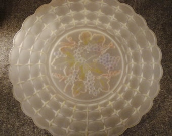 MOLDED FROSTED  PLATTER Glass Czexhoslovakia Large handpainted fruit grapes app.19 inches Diameter Decorative Vintage