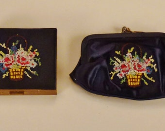 COMPACT and Coin PURSE Set Lewis Embroidered Black silk colorful baskets 1940s   Mint condition app 4 x 3 in