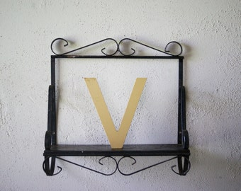 """Industrial Signage   Letter V   Upper Case   Initial V  Iridescent Gold   Acrylic Lettering   Store Sign   6"""" Letter   Wall Decor"""