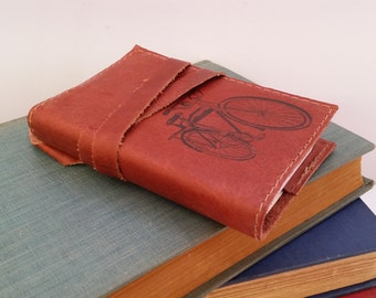 small leather journal-sketchbook hand-printed free customization - personalized