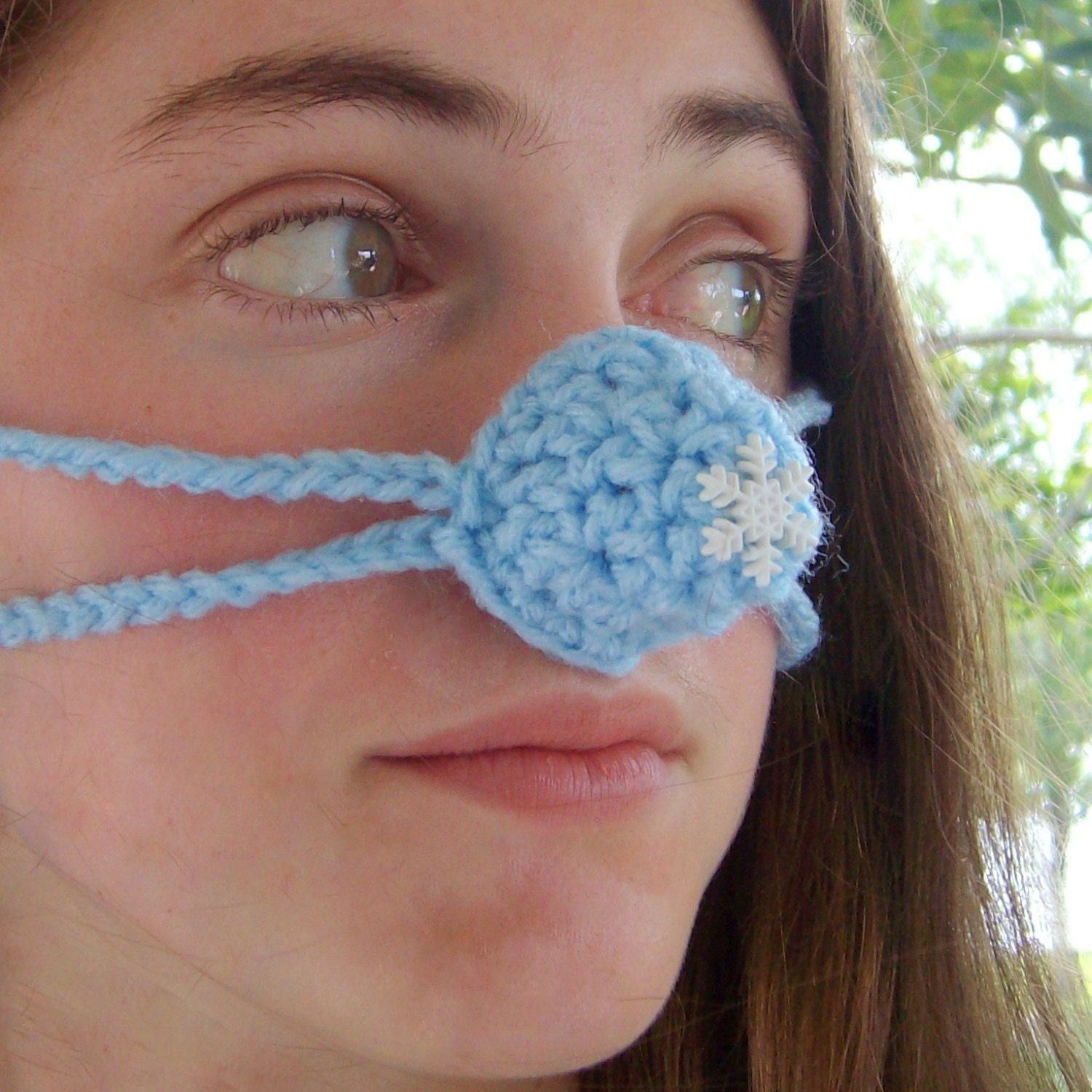 Crochet Nose Warmer : Snowflake Nose Warmer Nose Cozy Crochet Frozen by auntmartymadeit