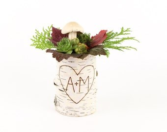 Personalized birch bark vase with free engraving, Medium