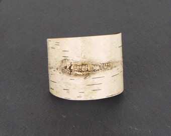 Birch bark wood bracelet, Gold Branch