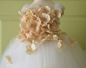 Flower girl dress White Dress Champagne Champagne Flowers, tutu dress, flower top, hydrangea top, toddler tutu dress Cascading flowers