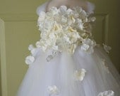 Flower girl dress White Dress, White and Ivory tutu dress, flower top, hydrangea top, toddler tutu dress Cascading flowers