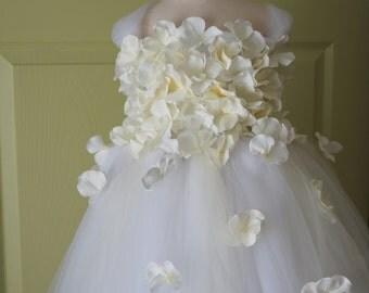 Flower girl dress White Dress, White and Ivory tutu dress, flower top, hydrangea top, toddler tutu dress Cascading flowers