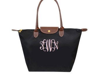 sale Black Personalized Bag,  Medium Tote, Nylon fold up style - monogrammed FREE - Preppy gift