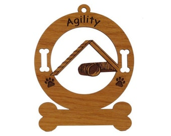 Agility Personalized Wood Dog Sport Ornament