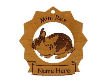 Mini Rex Rabbit  Personalized Wood Ornament