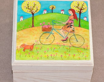 La Promenade Girls Jewelry Box, Wooden Jewelry Box, Trinket Box