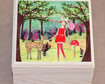 Woodland Girl Jewelry Box Trinket Box Fairy Tale Girl with Deer
