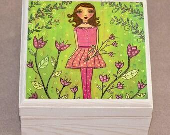 Flower Girl Jewelry Box, Wooden Trinket Box, Handmade Wood Jewelry Box, Birthday GIft