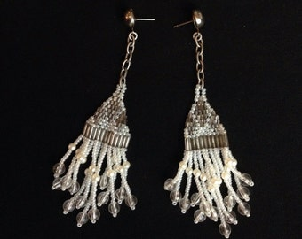 Vintage Beaded Chain Shoulder Duster Earrings Flapper