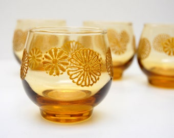 Libbey Sunburst Amber Glasses with Raised or Textured Flowered Daisies 1969 Set of 4 Old Fashioned Rocks