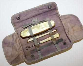1920s CHILDS TRAVEL Manicure set, 4 pc CELLULOID, Boardwalk Empire Era,button hook, Manicure set & Leather folding case