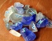 25 Rune Stones Elder Futhark Hand Painted Sea Glass