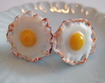 Fried Egg Earrings - Food Jewelry - Polymer Clay Food