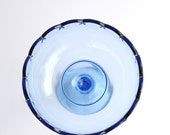 Compote -Vintage- Blue-Indiana-Glass-Tear-Drop-Compote-NEAR MINT