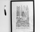 City linen tea towel, Melbourne screenprinted black and white
