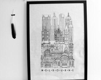 City linen tea towel, Melbourne screenprinted black and white