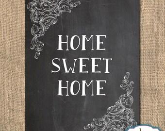 Art, Home Sweet Home, Chalkboard, Printable Artwork, 8x10, Digital Art, Instant Download