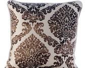 Decorative Throw Pillow Covers Couch Pillows Sofa Pillow Toss Pillows Burnout Bed Pillow Case Velvet 16 x 16 Throw Pillow Cover Damask Brown