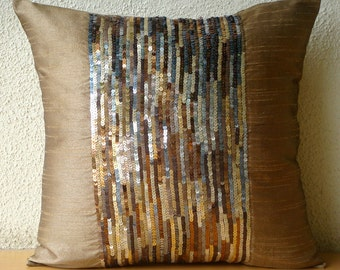 Decorative Throw Pillow Covers Accent Pillow Couch Pillow 16x16 Inch Silk Pillow Cover Embroidered Sequins Urban Rush  Home Decor Living