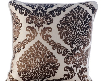 Decorative Euro Sham Covers Couch Pillows Sofa Pillow Toss Pillows Burnout Bed Pillow Case Velvet 26 x 26 Throw Pillow Cover Damask Brown