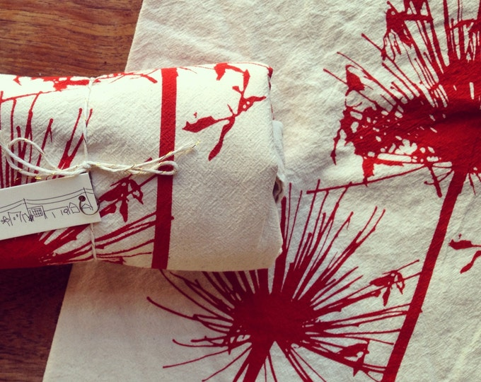 Flour Sack Napkins - Set of 2 - Hand Printed Agapanthus - Scarlet on Natural Cotton - Original Screen Print Design - Floral Home Accessories