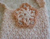 Handmade Purse, Children's Purse, Hand Beaded  Flower, Children's Accessories, Crocheted Bag, Girls Purse, Peach Purse