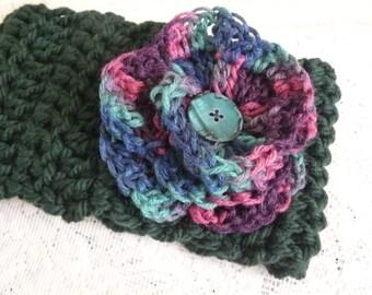 Handmade Ear Warmer - Crocheted Headband with Flower - Hunter Green, Winter Wear, Ear Warmer with Flower, Ladies Headband, A Winter Gift