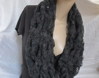 Lace Chunky Knit Infinity Scarf, Cowl, Chunky Cowl, Loop Scarf, Chunky Loop Scarf, Arm Knit Cowl, Arm Knit Infinity Scarf - Assorted Colors