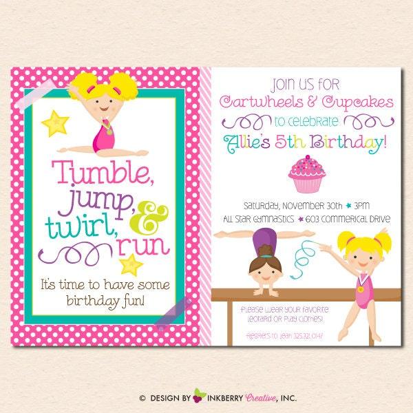 Girl's Gymnastics Birthday Party Invitation Cupcakes