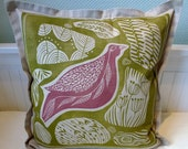 sale, cushion cover, linocut, decorative pillow, rose pink, spring green, pillow case, sofa cushion, bird, beige, home interior, soft pastel