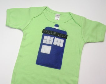 Tardis Dr. Who Onesie 3-6 Months on Green