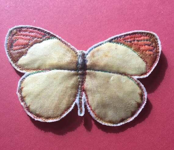 Butterfly Brooch: Large brown and cream, Freemotion Embroidered Printed Fabric