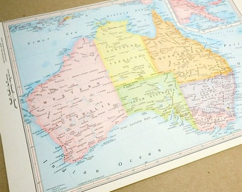 AUSTRALIA queensland new south wales 1960s retro map paper ephemera . wall decor . vintage book page . map