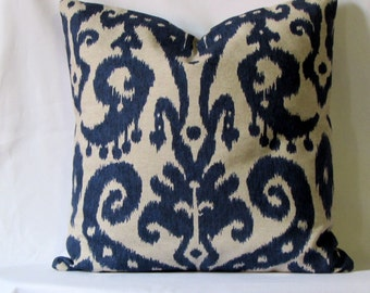 Ikat in Indigo Blue Pillow cover 18x18 20x20 inch