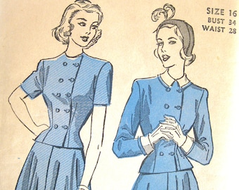 1940s Vintage Sewing Pattern - Advance 4807 Two-Piece Dress Pattern Double-Breasted Jacket and Flared Skirt / Size 16