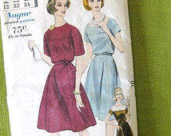 1960s Vintage Vogue Sewing Pattern - Gored Skirt and Belted Dress Vogue 5143 / Size 12