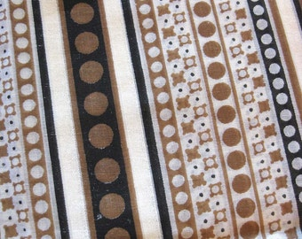 Screen Print Cotton Fabric in Stripes of Black and Brown with Polka Dots, Slightly Sheer Cotton Yardage
