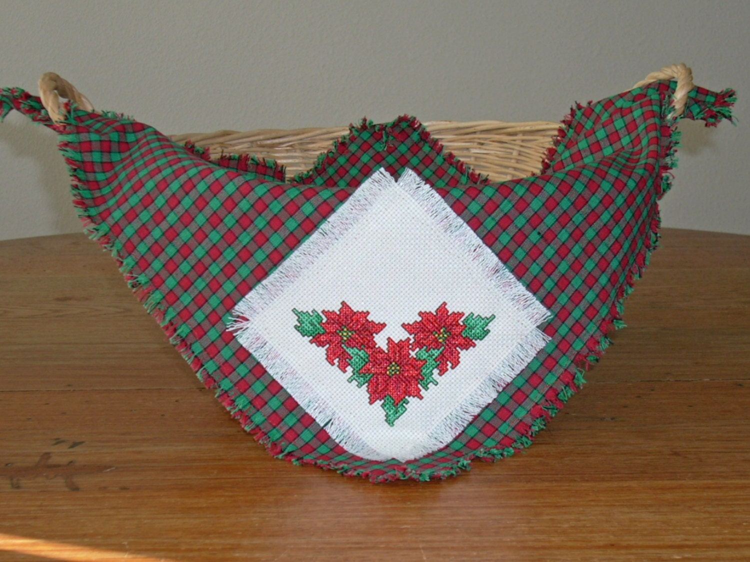 CHRISTMAS Poinsettia Basket Liner/Bread Cover in Counted Cross Stitch
